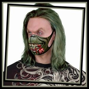 Spiral Grinch Face Mask Christmas Green Adult Sz